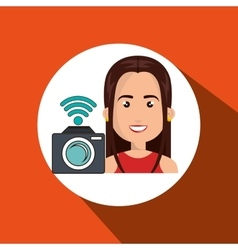 woman camera photo photography vector image