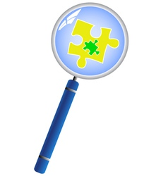 Magnifying glass analyzing the puzzle concept vector