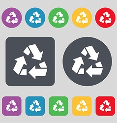 Recycle icon sign a set of 12 colored buttons flat vector
