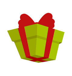 Packing present icon with red bow in flat style vector