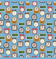 Seamless pattern with colorful alarm clocks on vector