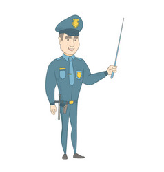 Young caucasian policeman holding a pointer stick vector