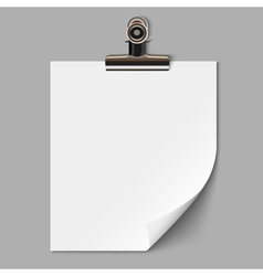 Blank sheet of paper with clamp vector