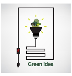 Trees and green light bulb on background vector