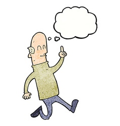 Cartoon bald man with idea with thought bubble vector