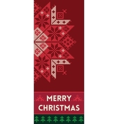 Merry christmas banner with snowflake in knitted vector