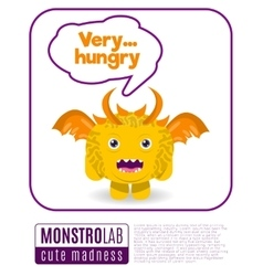 A monster saying very hungry vector