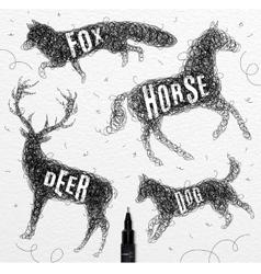 Tangled line deer black vector image