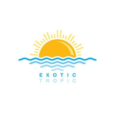 sea wave sunset symbolic vector image
