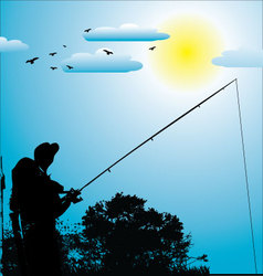 Fishing background vector image