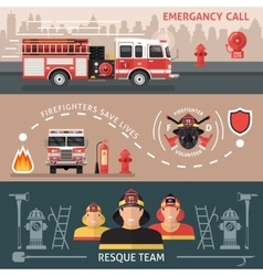 Firefighter banner set vector