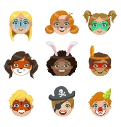 Kids With Painted Faces Portraits Collection vector image