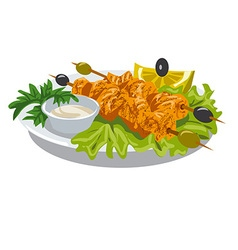 chicken kebab with sauce vector image vector image