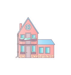 detailed colorful cottage house flat style modern vector image vector image
