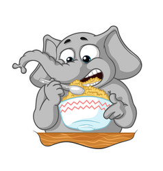 elephant he eats porridge with a spoon vector image