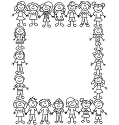 Kids friendship border-outline vector
