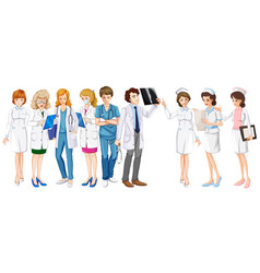 male and female doctors and nurses vector image
