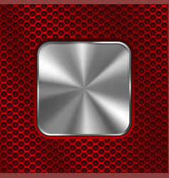 metal square button on red perforated background vector image