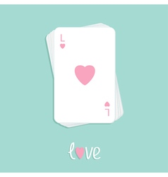 Playing card love pink heart stack Flat vector image vector image