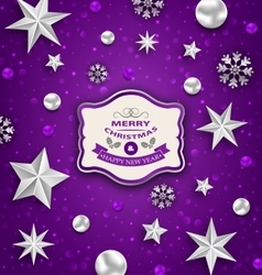 Purple abstract celebration card with silver stars vector