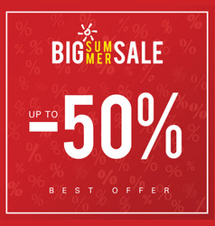 sale of big summer icon in red color vector image vector image