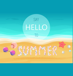 Say hello to summer text on sandy seashells shore vector