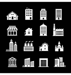Set of various buildings White on dark vector image