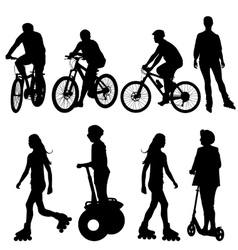 Set silhouette of a cyclist vector
