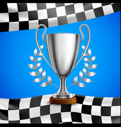 Silver winner trophy realistic poster vector