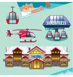 Ski resort set vector