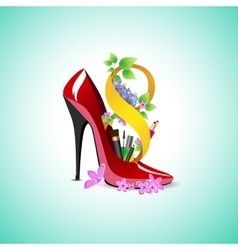 Symbol of Womens Day in the shoe vector image vector image