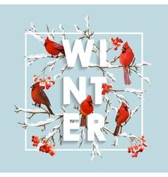 Winter christmas design in winter birds vector