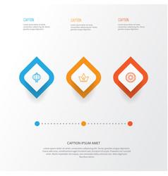 Year icons set collection of doughnut corona vector
