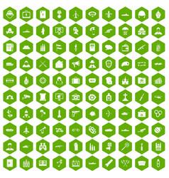 100 military icons hexagon green vector