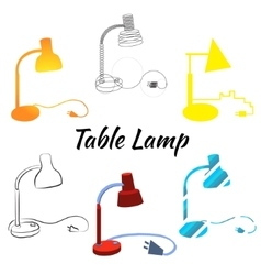 Table lamp set vector