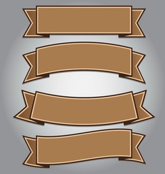 Vintage brown ribbon banner vector