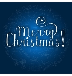 White christmas lettering on blue background with vector