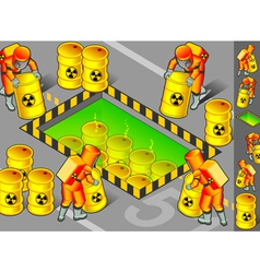 Isometric nuclear area with mans at work vector