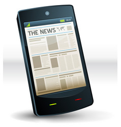 Newspaper inside pocket mobile phone vector
