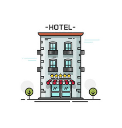 Hotel with five stars line vector