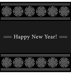 New year card with white ornamental snowflakes vector