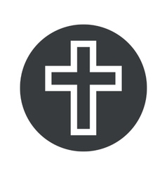 Monochrome round christian cross icon vector