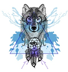 Dotwork tatoo stylized wolf face with dreamcatcher vector