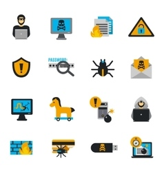 Hacker icons flat set vector