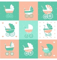 Prams-baby carriage set vector