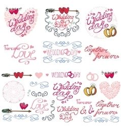 Wedding decor elements kitlabelscards vector