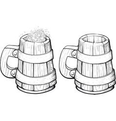 Beer wooden mug vector image