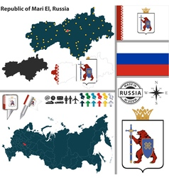 Map of republic of mari el vector