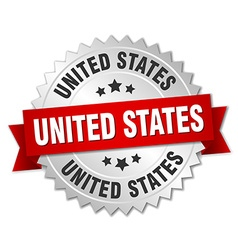 United states round silver badge with red ribbon vector