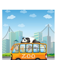 Animals and bus vector image